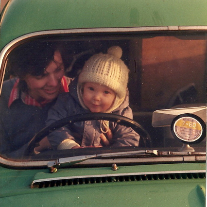 First driving with Mum, Green Saab, 1981